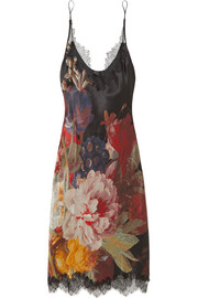 Chantilly lace-trimmed floral-print silk-satin chemise