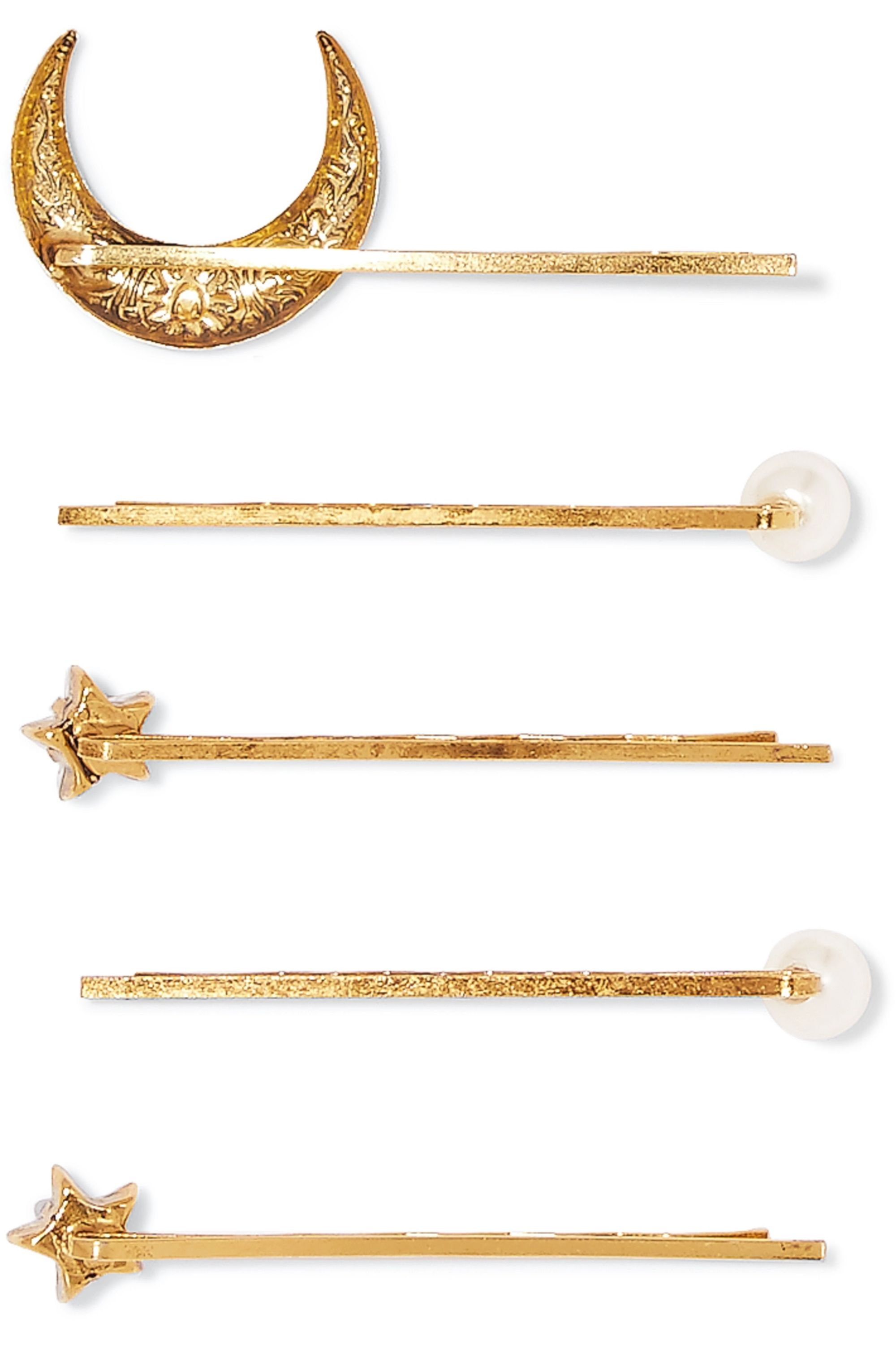 Jennifer Behr Set of five gold-plated, Swarovski crystal and faux pearl hair slides