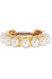 Perla gold-plated Swarovksi pearl hair tie