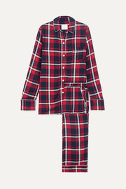 Checked cotton-flannel pajama set