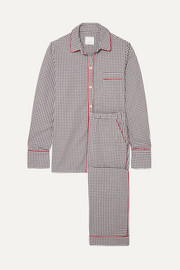 Halle checked cotton-flannel pajama set