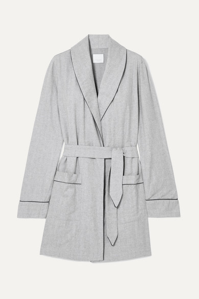 THREE J NYC Belted Cotton-Flannel Robe in Gray