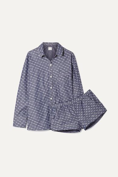 THREE J NYC Emily Cotton-Jacquard Pajama Set in Blue