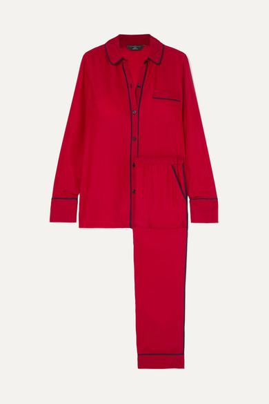 THREE J NYC Halle Silk-Satin Pajama Set in Red