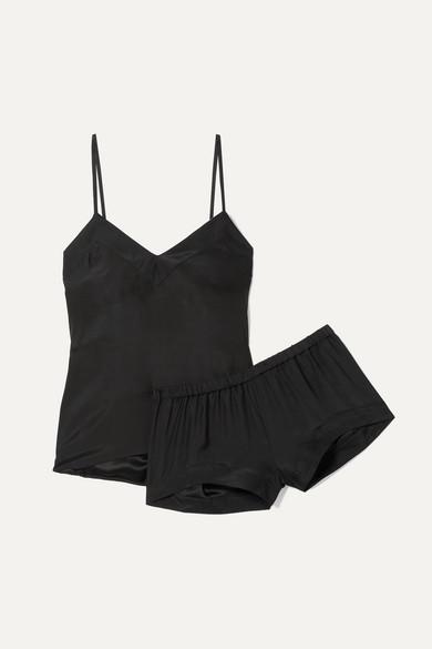 THREE J NYC Bardot Silk Pajama Set in Black