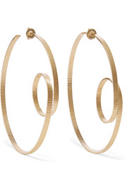Annie Costello Brown Circle Scroll gold vermeil hoop earrings