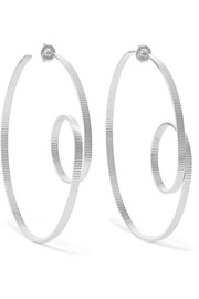 Annie Costello Brown Circle Scroll silver hoop earrings