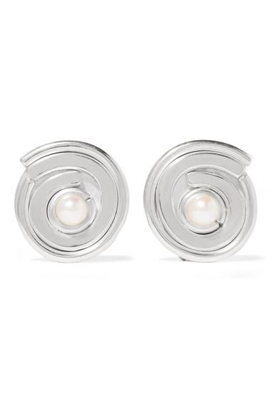 ANNIE COSTELLO BROWN Novus Sterling Silver Pearl Clip Earrings