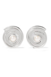 Annie Costello Brown Novus sterling silver pearl clip earrings