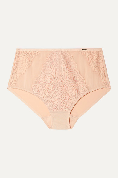CHANTELLE PYRAMIDE STRETCH-JERSEY AND LACE BRIEFS