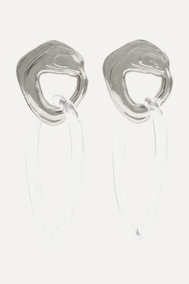 LEIGH MILLER Kinetic White Bronze And Glass Earrings in Silver