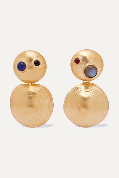LEIGH MILLER Gold-Tone Multi-Stone Earrings