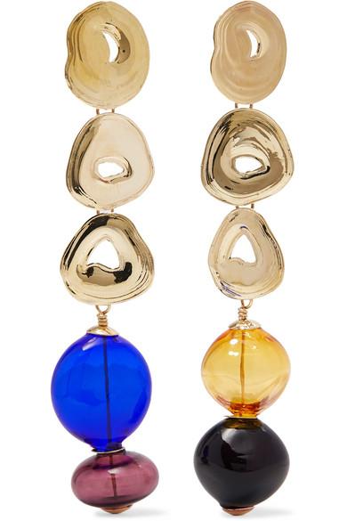 LEIGH MILLER Gumdrop Long Gold-Tone And Glass Earrings in Brass