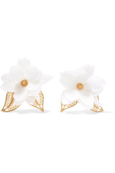 MALLARINO Gaby gold-tone silk earrings