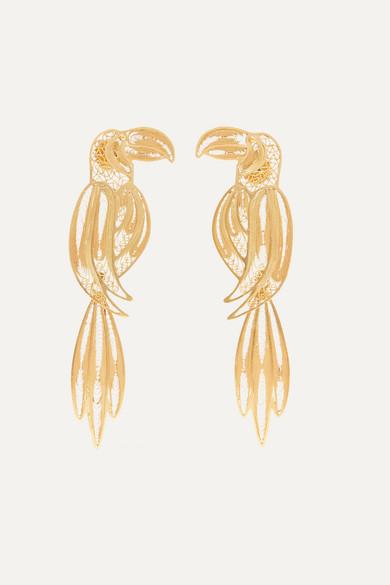 MALLARINO Tucan gold vermeil earrings