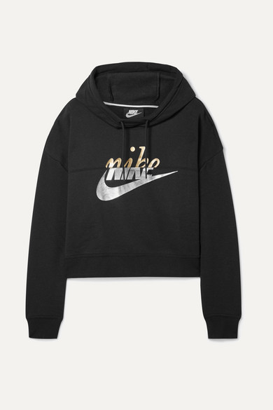 Sportswear Rally Metallic-Logo Fleece Cropped Hoodie in Black