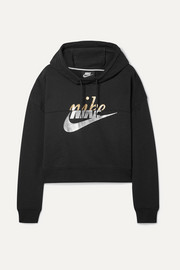 Nike Rally cropped printed cotton-blend hoodie