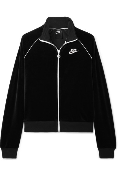 Sportswear Velour Track Jacket in Black
