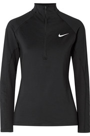 Nike Pro Warm mesh-trimmed stretch-jersey top