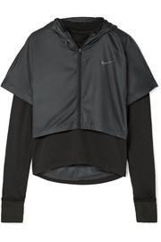 Nike Therma Element layered stretch-jersey and shell hooded top