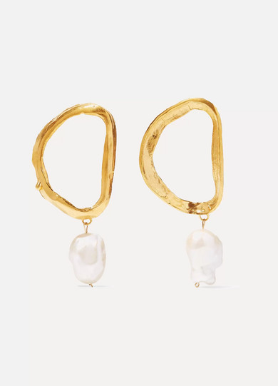 ALIGHIERI DANTE'S SHADOW GOLD-PLATED PEARL EARRINGS