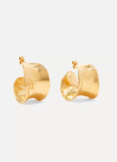 ALIGHIERI THE JOKER'S GAME GOLD-PLATED HOOP EARRINGS