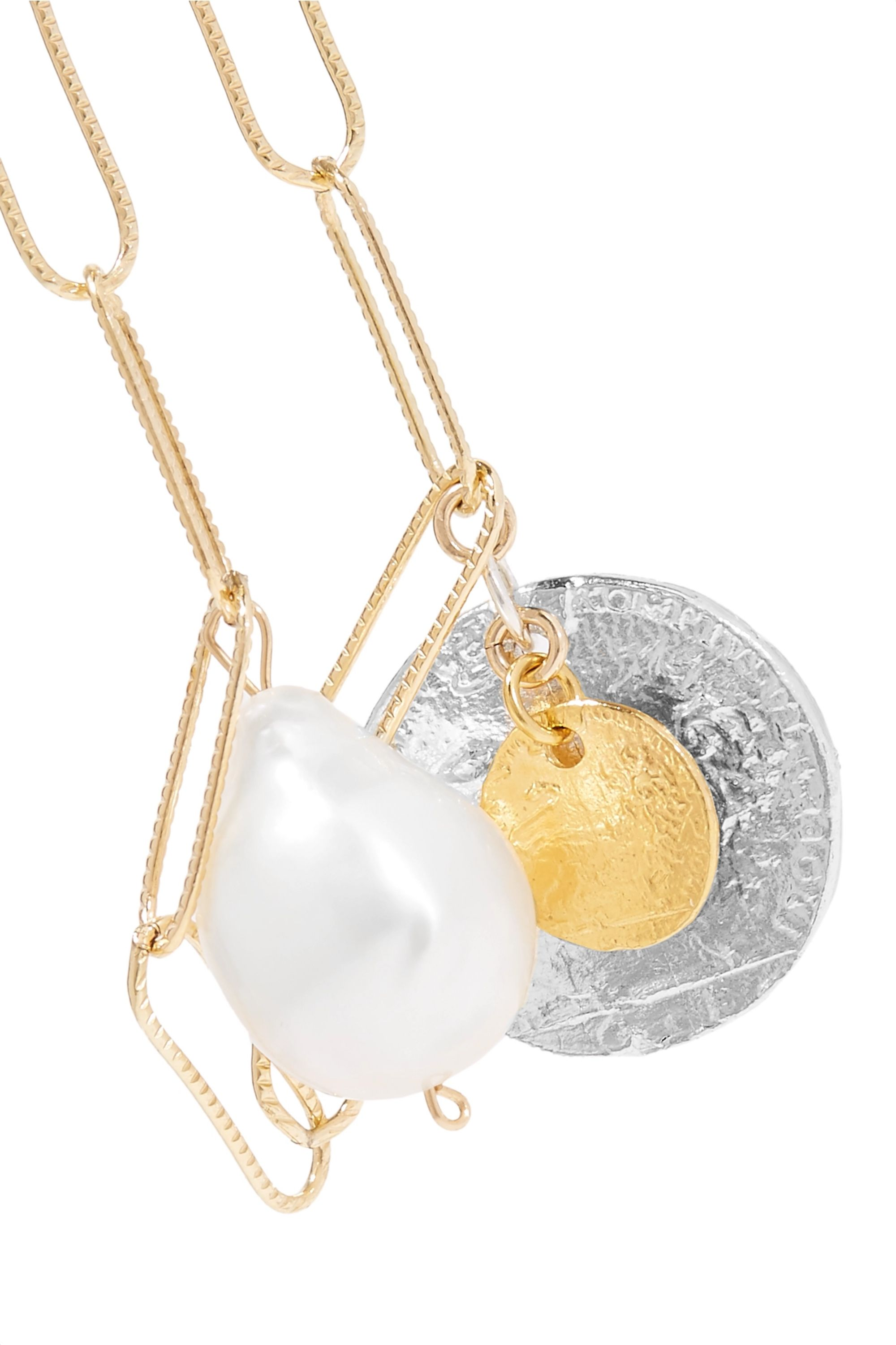 Alighieri The Snow Lion and the Baroque gold-plated pearl necklace