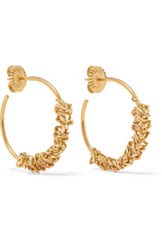 Rachel 14-karat gold-plated hoop earrings
