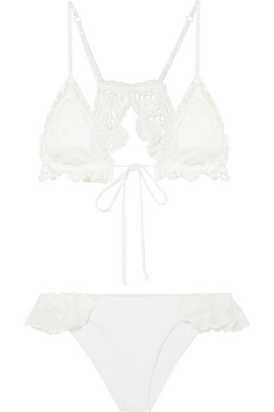 ANJUNA Nancy Crochet And Lace-Paneled Triangle Bikini in White