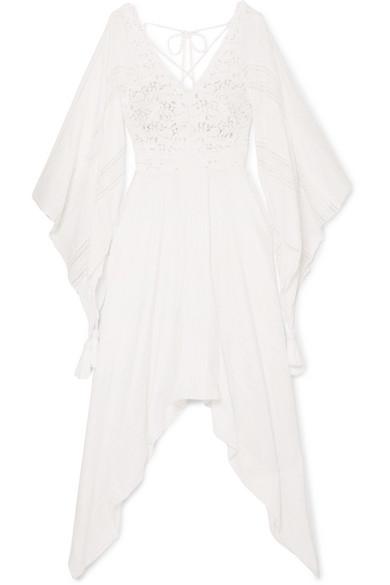 ANJUNA Nerea Lace-Paneled Swiss-Dot Cotton-Blend Dress in White
