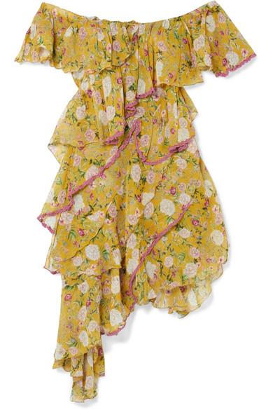 ANJUNA Nuccia Off-The-Shoulder Ruffled Floral-Print Silk-Chiffon Dress in Chartreuse