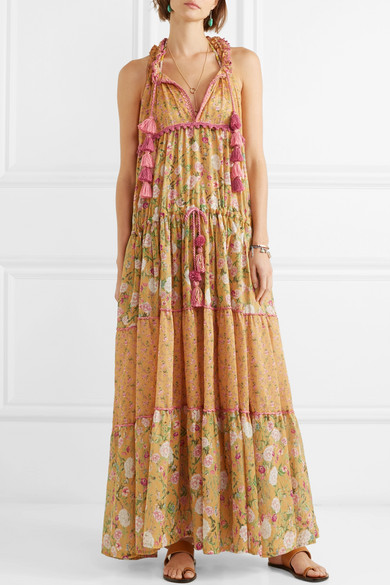 Naomi Floral-print Crochet-trimmed Cotton-voile Maxi Dress - Mustard Anjuna OPEHlybMo8