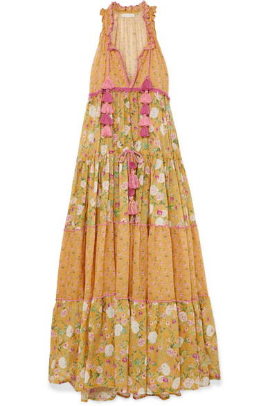 ANJUNA Naomi Floral-Print Crochet-Trimmed Cotton-Voile Maxi Dress in Mustard