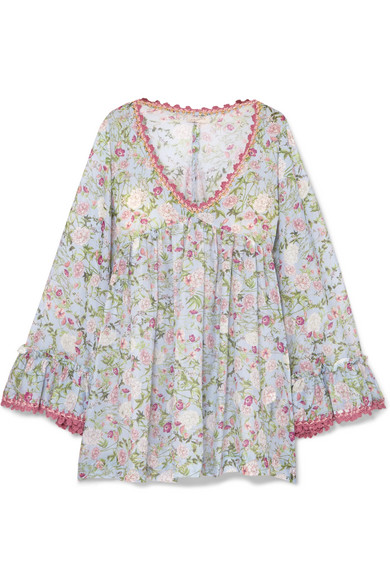 ANJUNA NELLY CROCHET-TRIMMED FLORAL-PRINT COTTON-VOILE DRESS