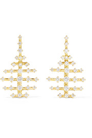 Mini Disco 18-karat gold diamond earrings