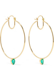 18-karat gold emerald hoop earrings