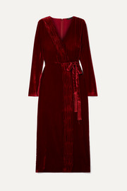 Aly gathered wrap-effect velvet dress