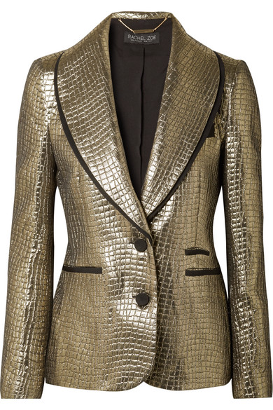 well known new list discount sale Becca grosgrain-trimmed metallic croc-effect jacquard blazer
