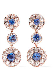 Selim Mouzannar Beirut 18-karat rose gold, diamond and sapphire earrings