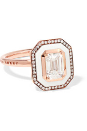 Mina 18-karat rose gold, enamel and diamond ring