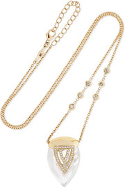 Jacquie Aiche 14-karat gold, quartz crystal and diamond necklace