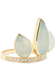 Jacquie Aiche 14-karat gold, aquamarine and diamond ring