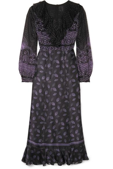 Anna Sui FOUNTAINS OF FANCY FIL COUPÉ SILK-BLEND CHIFFON AND SILK-SATIN MAXI DRESS