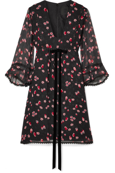 Tossed Tulips Printed Crinkled Silk Chiffon Mini Dress by Anna Sui