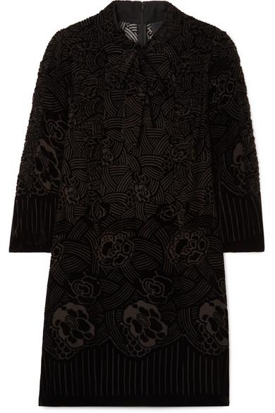 ANNA SUI Rose Basket Devoré-Velvet Mini Dress in Black