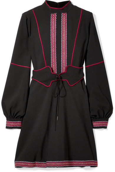 ANNA SUI BELTED EMBROIDERED CREPE MINI DRESS