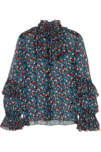 Fruits & Florals Ditsy Daze Floral-Print Silk-Chiffon Blouse