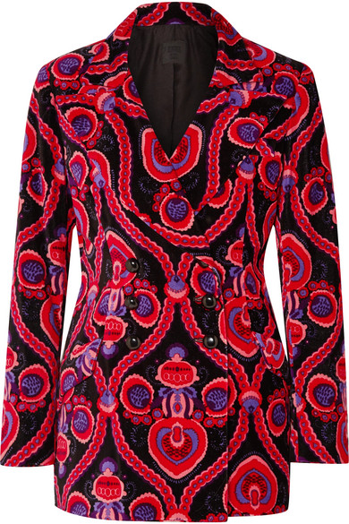 Anna Sui - Arabesque Double-breasted Printed Cotton-velvet Blazer - Pink