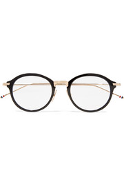 Round-frame gold-tone acetate optical glasses