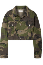 Cropped camouflage-print denim jacket